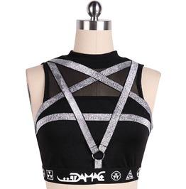 Gothic Black Women's Pentagram Mesh Mini Top