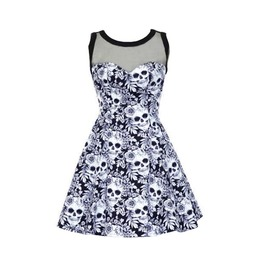 Elliz Clothing Floral Skulls Mesh Dress Purple Psychobilly A Line Dress