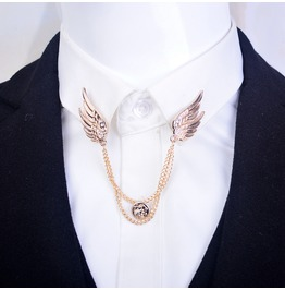 Rebelsmarket sweater clip double link chain tassel blouse angel wing lapel pins brooch brooches 2