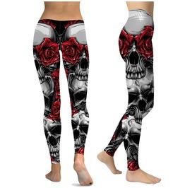 Gothic Red Rose Skull Print Tight Leggings