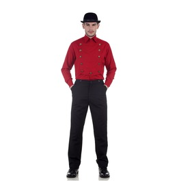 Airship Red Neo Victorian Steampunk Long Sleeves Double Breasted Shirt