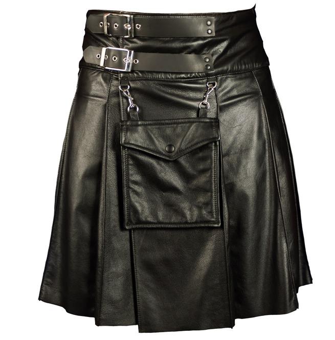Men Gothic Leather Kilt Utility Black Leather Sporran