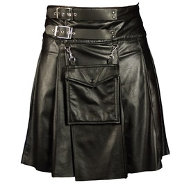 Men Gothic Leather Kilt Utility Black Leather Sporran Handmade Fetish Kilt