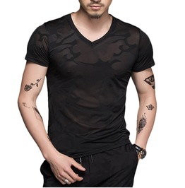 See Through Mesh Short Sleeves Goth Punk Black Slim Fit Stretch T Shirt Men