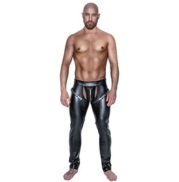Slim Tight Skinny Fit Black Faux Leather Pants Men