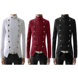 Men Casual Gothic Jacket Double Breasted High Neck Short Jacket Slim Fit Tr