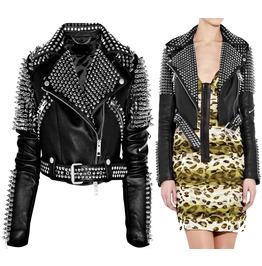 Rebelsmarket women punk rock silver studded jacket ladies gothic biker style leather jac jackets 6