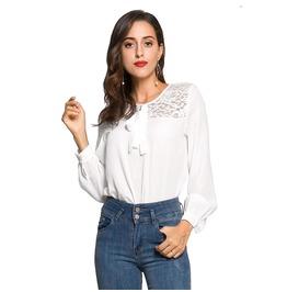 Women's Lace Colorblock Chiffon Standard Tops