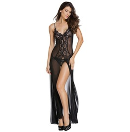 Women's Lingerie Halter See Through Lace High Split Long Gown Dress Set