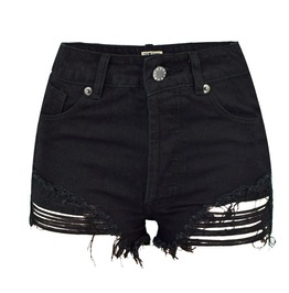Women's Distressed Fringed Shorts Pants
