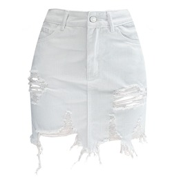 Women's Distressed Asymmetrical Hem Wrap Skirt