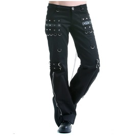 Gothic Women Pant Punk Buckle Zippers Chain Belt Pant