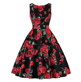 Sleeveless Rose Pattern Floral Goth Retro Vintage Skater Womens Midi Dress
