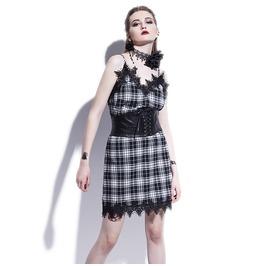 Spaghetti Strap Sleveless Goth Lace V Neck Summer Mini Womens Dress