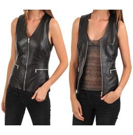 Womens Leather Vest Coat Black Slim Fit Motorcycle Lambskin Vintage Vest