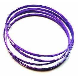 Eye Catching Four Deep Purple Shiny Metal Bangle Bracelets