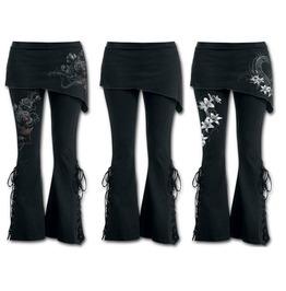 Gothic Floral Print Lace Up Side Bell Bottom Fitted Pants 3 Styles