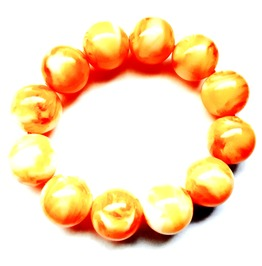 Charming Large Yellow Orange Imitation Gemstone Amber Bead Bracelet