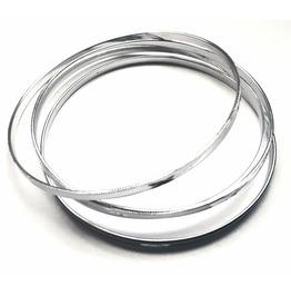 Eye Catching Five Silver Thin Shiny Metal Bangle Design Bracelets