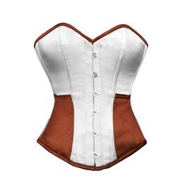White Brown Satin Halloween Costume Burlesque Bustier Overbust Corset Top