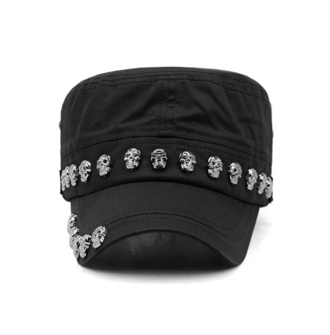1143d94b58204 Dark Forest Skull Rivets Goth Unisex Military Cap Flat Hat Accessories
