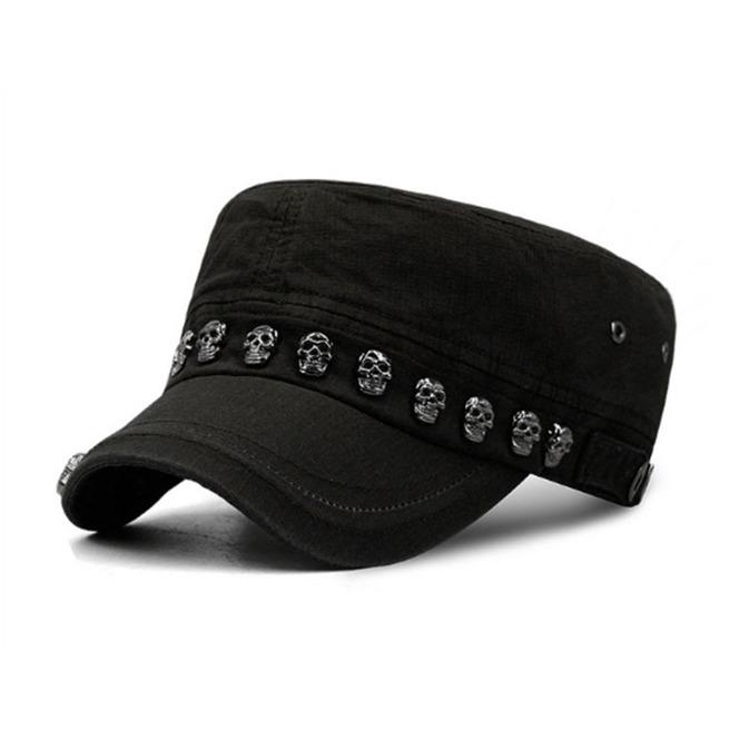 4cb3af4c9de23d Dark Forest Skull Rivets Goth Unisex Military Cap Flat Hat Accessories