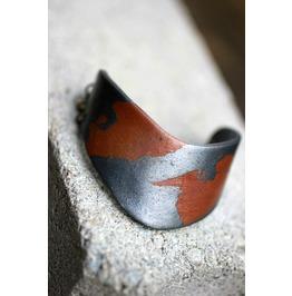 Rust And Steel Half Cuff Polymer Clay Bracelet