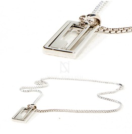 Square Maze Charm Metal Necklace 83