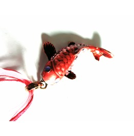 Fish! Chinese Carp Enamel Scarlet Red Shades With Diamante Crystals Pendant