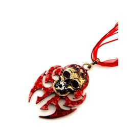 Cool! Red Enamel Bronze Col Metal Diamante Skull Pendant With Red Ribbon