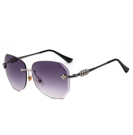 Sunglasses For Women Oversized Rimless Diamond Cutting Lens Retro Eyewear