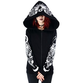 Tiberio Dark Side Third Eye Print Ankh Moon Rose Black Nu Goth Warm Hoodie
