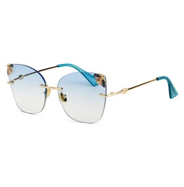 Women's Oversized Rimless Retro Small Bee Sunglasses For Driving Travelling