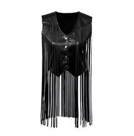 Vintage Sleeveless V Neck Tassel Women Leather Jacket
