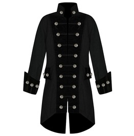 Goth Steampunk Vintage Velvet Trim Military Brocade Jacket Coat