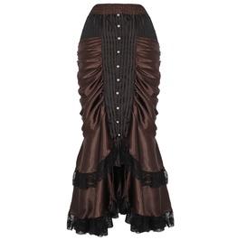 Brown Gothic Steampunk Long Maxi Vintage Victorian Ruffled Satin Skirt