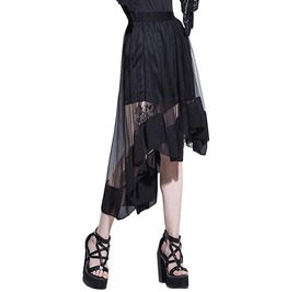 Asymmetrical Black Mesh Patchwork Goth Skirt