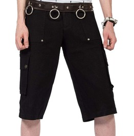 Goth Vintage Black Cargo Shorts For Men