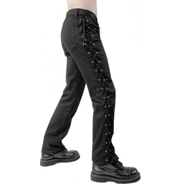 Gothic Pistol Loop Denim Pant Black Punk Rave Cyber Lace Trousers