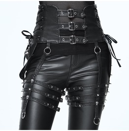 Imitation Leather Rivets Steampunk Goth Skull Lace Up Womens Waistband