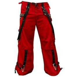 Men Gothic Red Trouser Red Threads Black Straps Punk Rock Metal Chain Cyber
