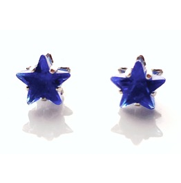 Cool Royal Blue Star Diamante Design 925 Silver Stud Earrings
