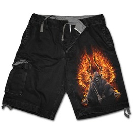Flaming Death Vintage Cargo Shorts Black