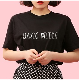 Basic Witch Tshirt Black Goth Harajuku Kawaii