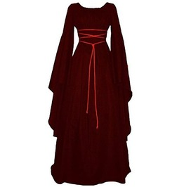 0b671fbedab Victorian Women s Medieval Lace Long Flare Sleeve Maxi Dress