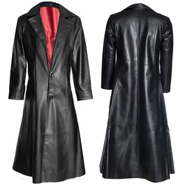 Men Vampire Leather Coat Gothic Blade Pu Leather Long Dracula Coat