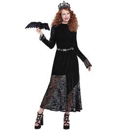 Gothic Black Skull Mesh Skirt Long Sleeve Maxi Dress