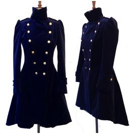 Rebelsmarket women blue velvet coat double breasted frock women gothic velvet coat coats 4
