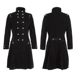 Women Black Velvet Coat Alternative Fashion Style Gothic Velvet Coat