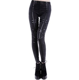 Tiberio Dark Side Geometry Acid Wash Leather Black Occult Nu Goth Leggings